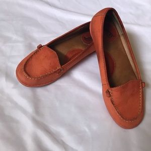 Born Orange Leather Lily Driving Loafers